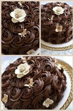 Beautiful ganache rosettes.  I really love this way of decorating a cake!!!  <3