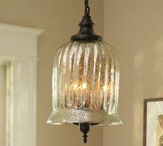 "Kaplan Mercury Glass Pendant | Pottery Barn  Two over kitchen island  $299.00  11.5""d x 17.5""h"