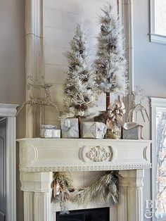 A festive display of trees, presents, and reindeer doesn't have to be overwhelming—just stick to a simple color palette. This gorgeous Christmas fireplace decor incorporates frosty hues of white, silver, and gold for big-impact style with only a few colors.