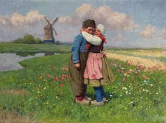 Karl Feiertag (1874-1944) First love, oil on canvas 60.1 x 80.3 cm, signed lower right. Collection Simonis & Buunk, The Netherlands