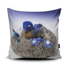 Bluebird cushion - PRE ORDER - - A luxurious faux suede square soft cushion pillow printed with original art Portrait Illustration, Hand Illustration, Art Pad, Graffiti I, Original Paintings, Original Art, Baby Deer, Felt Art, Blue Bird