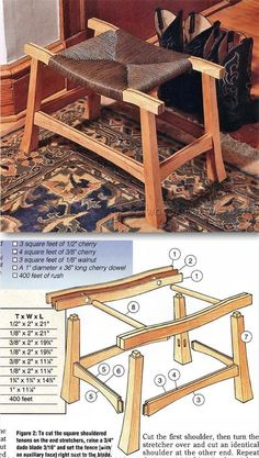 Rush Covered Stool Plans - Furniture Plans and Projects   WoodArchivist.com