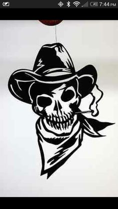 outlaw cowboy skull DXF file for CNC plasma by ArcInnovations