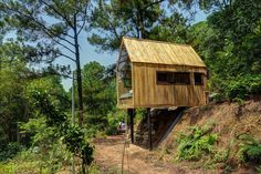 This project, simply titled Forest House, can be found along the edge of a forest in Vietnam. The structure was built to act as a temporary residential spa