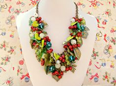 Verdigris Green Christmas Necklace Red Holly by Sweetystuff, £80.00
