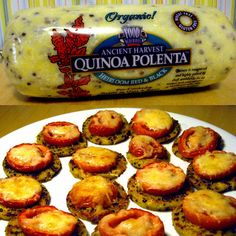 Quinoa Polenta    A tube of this Quinoa Polenta contains five grams of fiber and 10 grams of protein. Slice it up, sauté in a little oil, top with sliced tomato and a little mozzarella cheese, and enjoy delicious, gluten-free minipizzas.