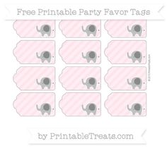 Pink Diagonal Striped  Elephant Party Favor Tags