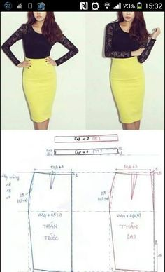 DIY pencil skirt: how to make a pencil skirt pattern Skirt Patterns Sewing, Clothing Patterns, Tango Dress, Pattern Cutting, Fashion Sewing, Sewing Hacks, Diy Clothes, Dress Making, Rock