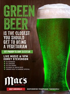 It's the luckiest day of the year! Come celebrate St. Paddy's Day all day long at Mac's Speed Shop! Green beer, great specials, and live music at 4 PM with Corey Stevenson! // #yeahTHATgreenville #greenvillesc #southcarolina #thingstodoingreenvillesc #upstateSC #discoverSC