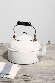 Vintage Enamelware White Tea Kettle