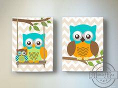 Kids Wall Art Owl Nursery Baby Boy Owl Decor Owl Nursery