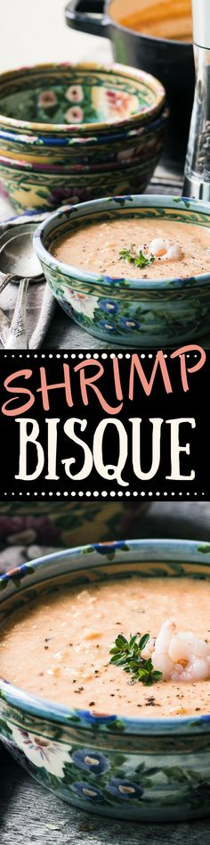 Shrimp Bisque ~ it's a little bit romantic, a little bit ladies who lunch, and it definitely has a 20th century vibe ~ but I think this richly flavored soup is ready for a comeback! | French | seafood | chowder | appetizer