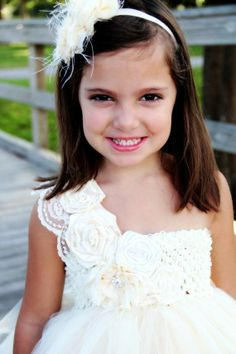 Elegant Ivory Vintage flower girl tutu dress, Flower girl dress, tutu dresses, headband, Ivory Wedding