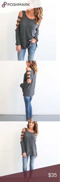 Sexy Grey Top Simply but sexy, this grey top with the sleeves mostly cut out is cute with a pair of jeans and wedges! Boutique Tops