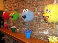 Decor Sesame Street Decorations On The Brick Wall Four Displays With A Pot And A Variety Of Colors Zoom Designing Birthday Party With Sesame Street Decorations Making. Sesame Street Decorations, Sesame Street Centerpiece, Seasame Street Party, Sesame Street Birthday, Elmo Birthday, First Birthday Parties, Birthday Ideas, Ideas Decoracion Cumpleaños, Cookie Monster Party
