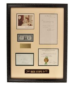 """Harry S. Truman - Autograph Collection - """"The Buck Stops Here"""" - Framed Display"""