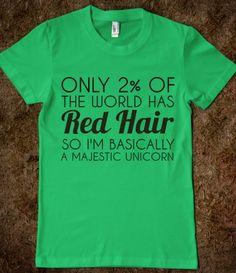 RED HAIR MAJESTIC UNICORN - glamfoxx.com - Skreened T-shirts, Organic Shirts, Hoodies, Kids Tees, Baby One-Pieces and Tote Bags Custom T-Shirts, Organic Shirts, Hoodies, Novelty Gifts, Kids Apparel, Baby One-Pieces | Skreened - Ethical Custom Apparel