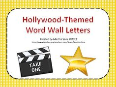 """**Updated** Use these letter labels to your Hollywood-themed classroom word wall. Print on cardstock, laminate and you're ready to create your """"HollyWORD"""" wall. Star Themed Classroom, Classroom Word Wall, Stars Classroom, Classroom Themes, Classroom Activities, Classroom Organization, Movie Classroom, Word Wall Letters, Letter Wall"""