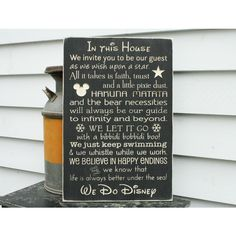 Disney Rules in This House We Do Disney House Rules Family Rules Wood... ($65) ❤ liked on Polyvore featuring home, home decor, wall art, black, home & living, home décor, wall décor, wall hangings, text signs and word wall art