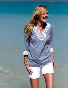 Anne Vyalitsyna poses for Boden clothing line. (Photo Credit: www.bodenusa.com)