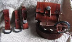 Medieval Reenactment Celtic Circle Package, Pouch, Leather Belt, Skirt Chasers, and Mug Strap