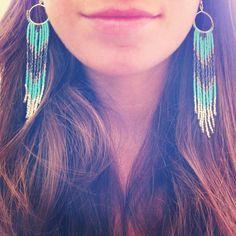 Turquoise Thunder NativeInspired Long Beaded Fringe by Kadhi