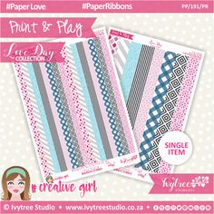 PP/191/PR - Print&Play - PAPER RIBBONS - Love Day Collection #PrintAndPlay #PlannerStickers #Scrapbooking #PaperCrafts #DigitalProducts