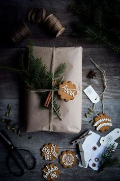 DIY Gift Wrap with cookies and pine