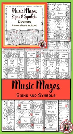 Music Signs and Symbols Music Mazes  •This file contains 12 music mazes based on music signs and symbols.  •For each question box in the maze there are two answer boxes. If the correct answer is selected, the maze leads to the next question box, but if the incorrect answer is chosen, the maze leads to a dead end.  ♫ CLICK through to read more or save for later!  ♫