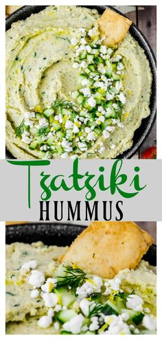 This fresh, creamy Easy Tzatziki Hummus Dip is a healthy, delicious mash up of tzatziki with hummus! It's savory, tangy and highly addictive! Greek Appetizers, Healthy Appetizers, Appetizer Recipes, Healthy Recipes, Yummy Recipes, Healthy Snacks, Tzatziki, Healthy Hummus, Healthy Eating