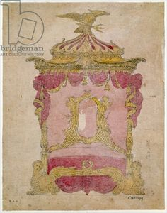 Design for a bed by John Linnell, circa 1755-1760.