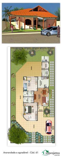 Projeto de casa com duas suítes e uma cozinha. Possui varanda lateral que circunda toda a edificação, e mais uma garagem, resultando uma área de 87,30 m². Com depósito, Sala de estar/Jantar conjugados e jardim interno. Telhado em telha de barro.