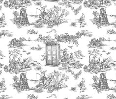 Okay this is amazing. police boxes Toile de Jouy grey fabric by debi_birkin on Spoonflower - custom fabric
