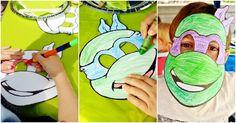 Turtle mask colouring in fun