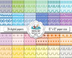 CALLIGRAPHIC ORNAMENT  Digital papers  Instant by DigitalBay