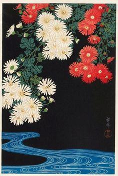 """""""taishou-kun:  noonesnemesis:  Chrysanthemums and Running Water Ohara Koson 1931  Ohara Koson 小原 古邨 (1877-1945)   """""""