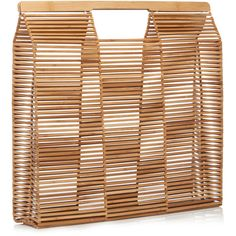 Cult Gaia Gaia's Big Square Tote ($230) ❤ liked on Polyvore featuring bags, handbags, tote bags, bamboo purse, fold over purse, square tote, square purse and handbag tote