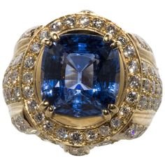 Beautiful Ceylon Sapphire and diamond dome ring | From a unique collection of vintage dome rings at http://www.1stdibs.com/jewelry/rings/dome-rings/