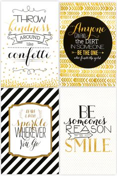 Glimmer of Gold Collection, Motivational Poster Set, 13.5 x 19 Inches,  Black and Gold, 4 Count