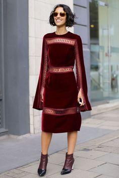 Yasmin Sewell, Street Style, Luxury Fashion, Party Dress, Velvet Dress, Burgundy Boots
