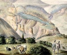 Imagen del pueblo de Puracé, vista desde los altos de Pesares, provincia de Popayán