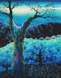 Orchard in bloom : Eyvind Earle 1974 Anime Comics, Art Images, Art Pictures, Eyvind Earle, Illustrator, Magic Realism, Edward Hopper, Art Database, Art And Illustration