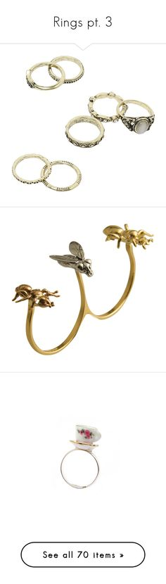 """Rings pt. 3"" by amarie104 ❤ liked on Polyvore featuring jewelry, rings, accessories, gold, punk jewelry, antique brass rings, round ring, punk rock jewelry, etched jewelry and anéis"