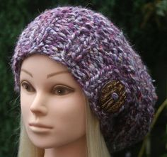 Purple SLOUCHY BEANIE hat with big coconut button