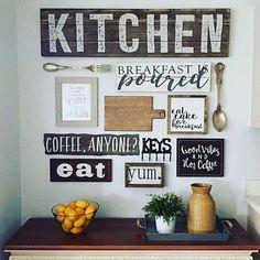 Kitchen Wall Collage Hobby Lobby 51 Ideas For 2019 Kitchen Gallery Wall, Rustic Gallery Wall, Galley Wall, Hobby Lobby Decor, Diy Home Decor Projects, Decor Ideas, Wall Ideas, Design Projects, Kitchen Signs