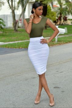 Ecstasy Models - Casually Elegant  SYDNEY WHITE RUCHED MIDI SKIRT  Chic Couture