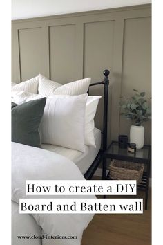 Step by step guide showing how to create a DIY board and batten wall Room Ideas Bedroom, Bedroom Colors, Home Bedroom, Bedroom Wall, Bedroom Decor, Small Master Bedroom, Master Bedroom Design, Interior Design Living Room, Feature Wall Bedroom