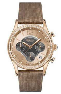 Breil 'Miglia' Crystal Bezel Chronograph Leather Strap Watch, 37mm available at #Nordstrom $325.00