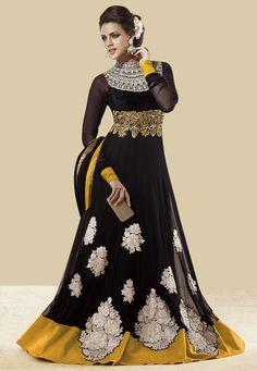Black Net Abaya Style Churidar Kameez Online Shopping: KMR64