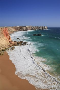 Poster Print-Praia do Tonel and Fortaleza de Sagres, Sagres, Parque Natural do SW Alentejano Poster sized print made in the USA Visit Portugal, Portugal Travel, Spain And Portugal, Parque Natural, Beaches In The World, By Train, Travel Images, Beautiful Beaches, Beautiful World